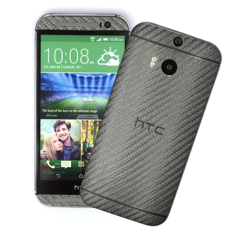 HTC One M8 Metallic Grey CARBON Fibre Skin Cover