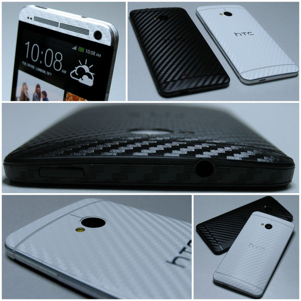 HTC ONE M7 3D Textured CARBON Fibre FULL BODY Vinyl Wrap Decal Sticker Skin
