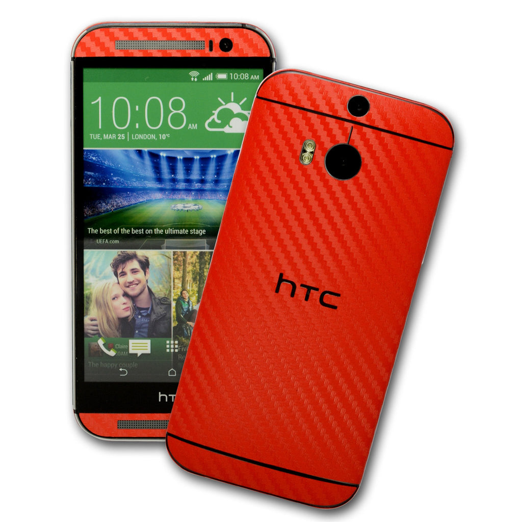 HTC One M8 red carbon fibre skin