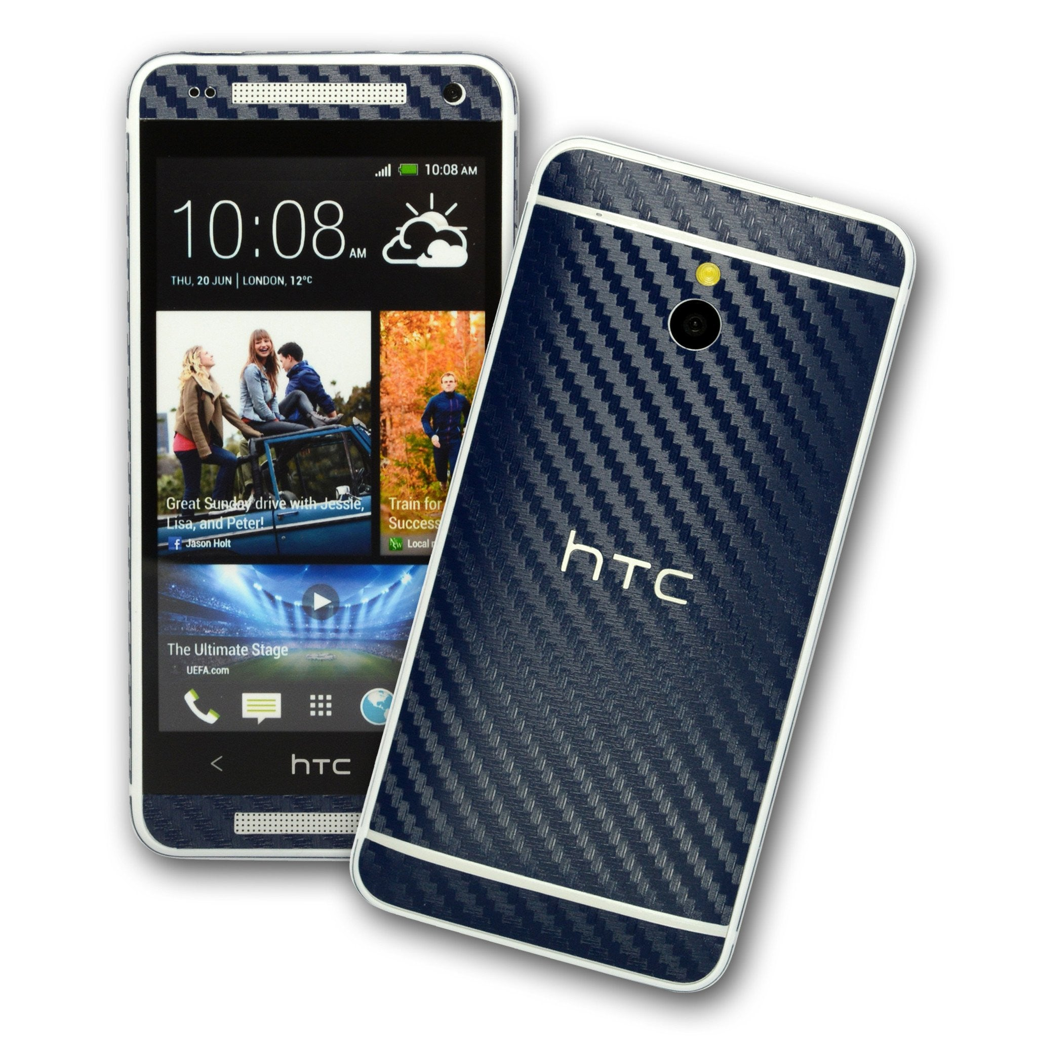 HTC One MINI M4 NAVY BLUE Carbon Fibre Skin