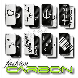 OLD SCHOOL 3D CARBON Fiber BACK ONLY Skin for iPhone 5S