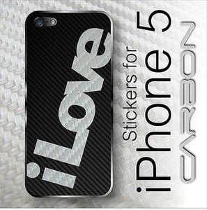"3D CARBON fiber Vinyl ""iLOVE"" BACK Skin for iPhone 5"