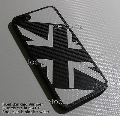 3D CARBON Fiber FULL BODY British UK Flag Union Jack Skin for iPhone 5