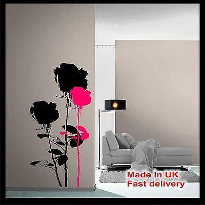 Roses Rose Silhouette Art Deco Vinyl Wall Sticker Wall Decal Home Decor Flowers
