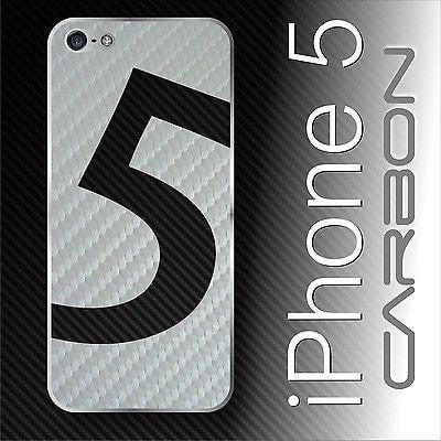 "High Quality CARBON fiber Full Battery Back Sticker Skin Cover ""5"" for iPhone 5"
