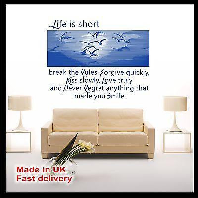 """Life is short..."" Photo CUT Birds - Vinyl Wall Art Quotes - Wall Sticker Decal"