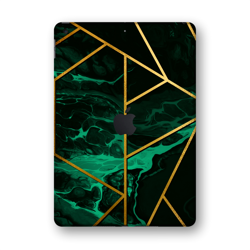 "iPad 10.2"" (7th Gen, 2019) SIGNATURE Liquid Green-Gold Geometric Skin Wrap Sticker Decal Cover Protector by EasySkinz"