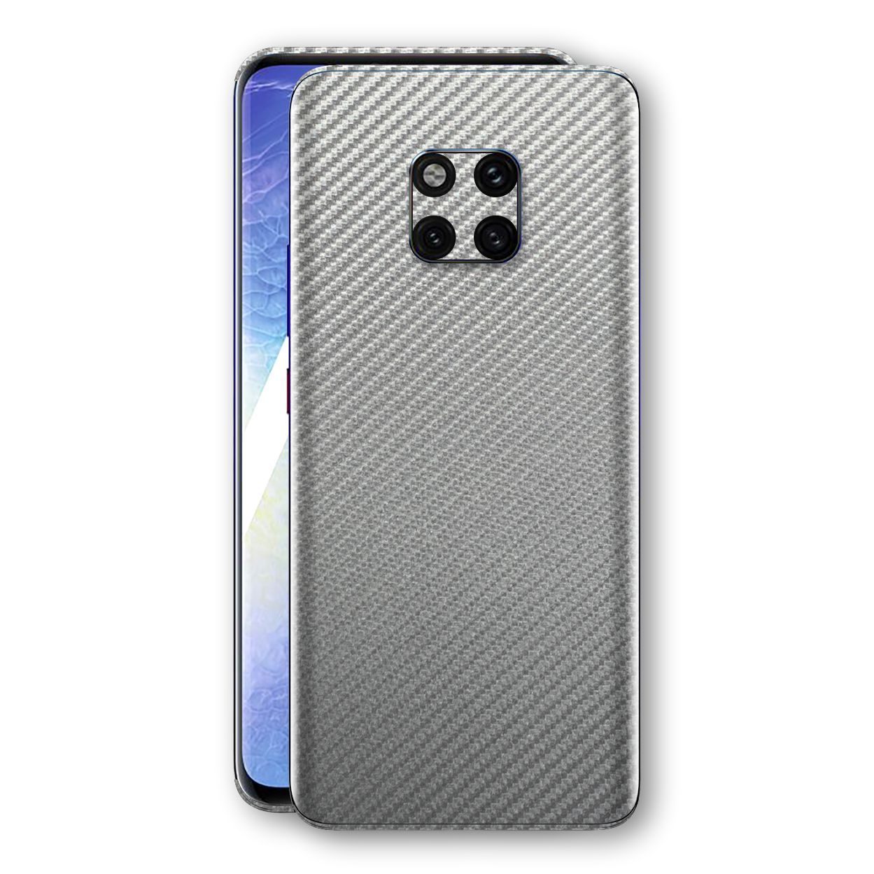 Huawei MATE 20 PRO 3D Textured Metallic Grey Carbon Fibre Fiber Skin, Decal, Wrap, Protector, Cover by EasySkinz | EasySkinz.com