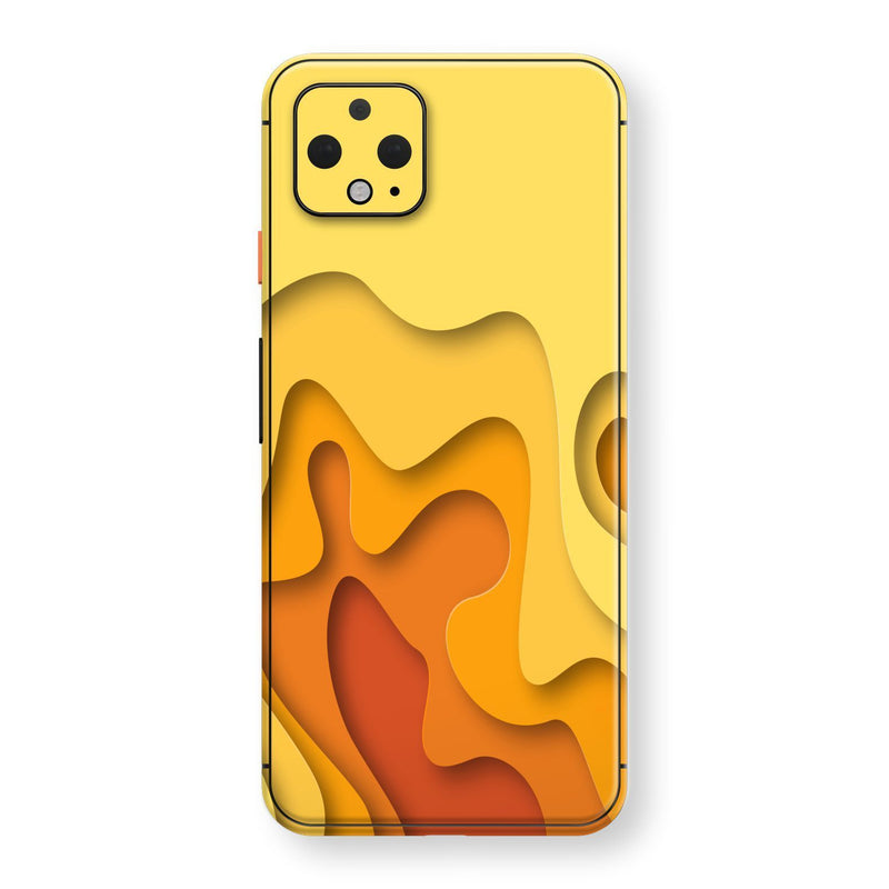 Google Pixel 4 Print Custom SIGNATURE Orange-Yellow CARVING Skin, Wrap, Decal, Protector, Cover by EasySkinz | EasySkinz.com