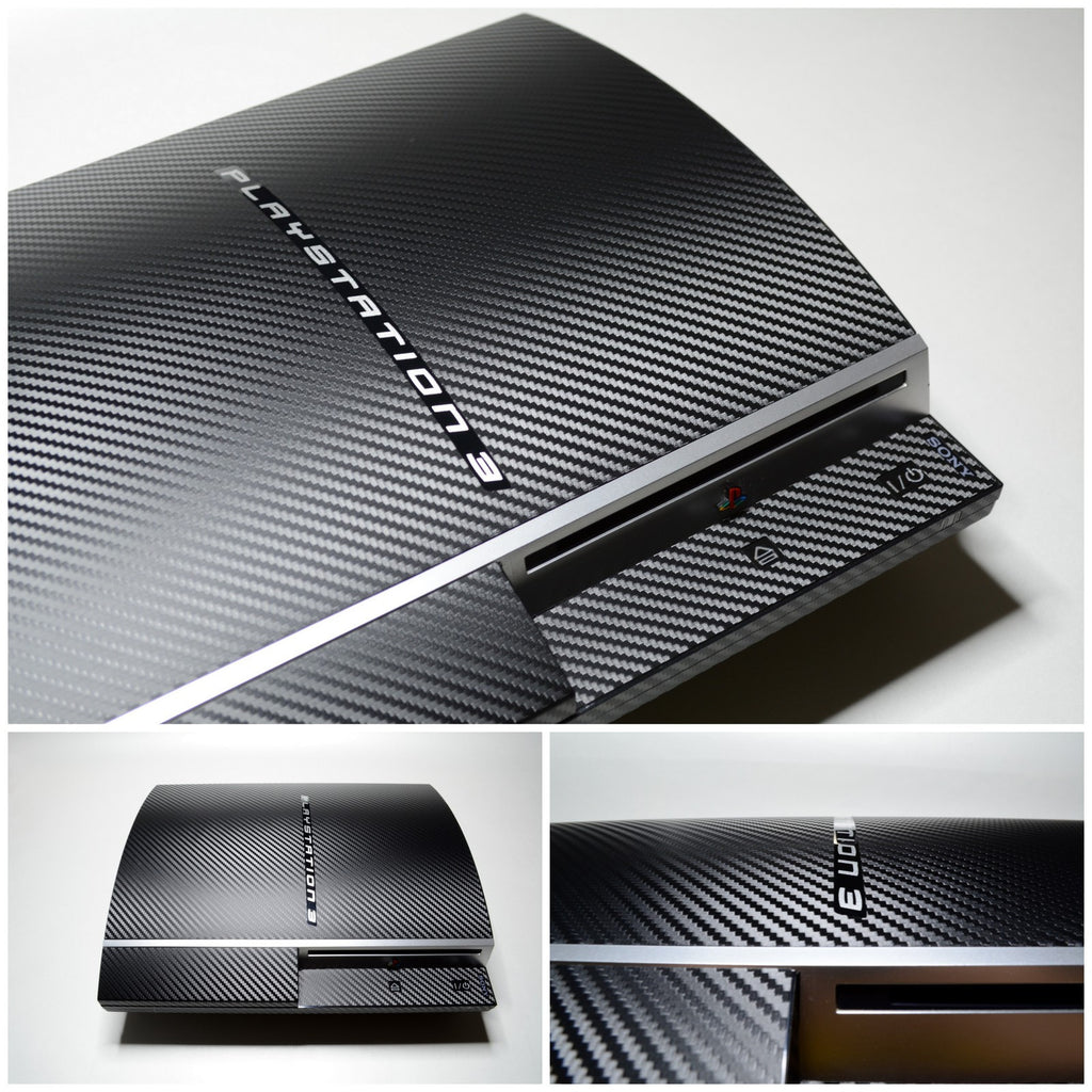 PS3 Playstation 3 fat 3D Textured CARBON Fibre Wrap Cover Decal Sticker Skin