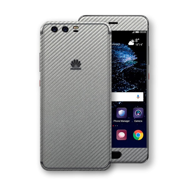 Huawei P10+ PLUS 3D Textured Metallic Grey Carbon Fibre Fiber Skin, Decal, Wrap, Protector, Cover by EasySkinz | EasySkinz.com