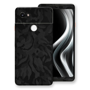Google Pixel 2 XL Black Camo Camouflage 3D Textured Skin Wrap Decal Protector | EasySkinz