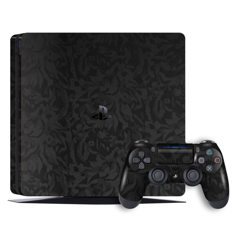 Playstation 4 SLIM PS4 Luxuria Black 3D Textured Camo Camouflage Skin Wrap Decal Protector | EasySkinz