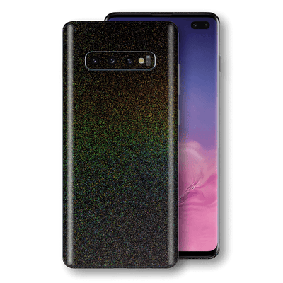 Samsung Galaxy S10+ PLUS Glossy GALAXY Black Milky Way Rainbow Sparkling Metallic Skin Wrap Sticker Decal Cover Protector by EasySkinz