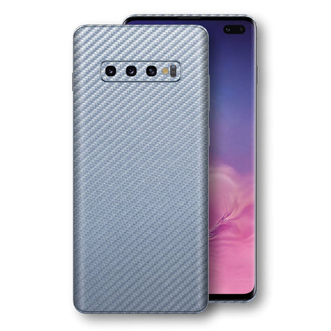 Samsung Galaxy S10+ PLUS 3D Textured Arctic Blue Carbon Fibre Fiber Skin, Decal, Wrap, Protector, Cover by EasySkinz | EasySkinz.com