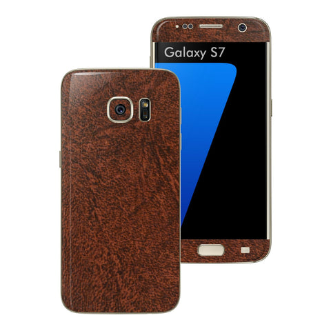 Samsung Galaxy S7 Luxuria Brown Leather Skin Wrap Decal Cover by EASYSKINZ