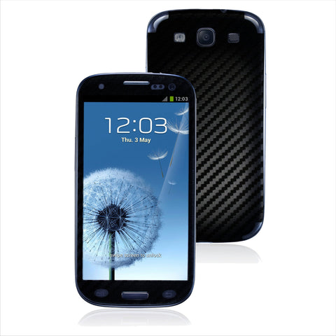 Samsung Galaxy S3 black carbon fibre skin cover