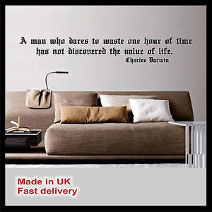 """A man who dares..."" Charles Darwin Quote Vinyl Wall Art - Wall Sticker Decal"