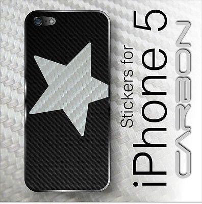 High Quality CARBON fiber Full Battery Back Sticker Skin Cover STAR for iPhone 5