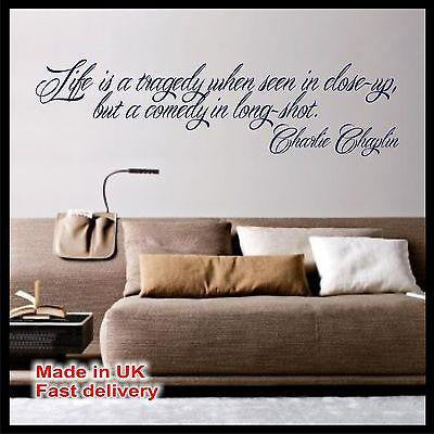 Life is a tragedy Charlie Chaplin Quote Vinyl Wall Sticker Wall Decal Home Decor