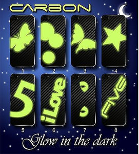 GLOW IN THE DARK with 3D CARBON  BACK ONLY Skin for iPhone 5S