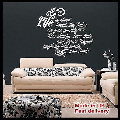 "VINTAGE Retro ""Life is short..."" - Vinyl Wall Art Quotes - Wall Sticker Decal"