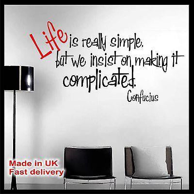 Life is really simple Confucius Quote Vinyl Wall Sticker Wall Decal Home Decor