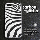 ZEBRA Shine GLITTER and 3D CARBON Skin for iPhone 4 4S 5 5S