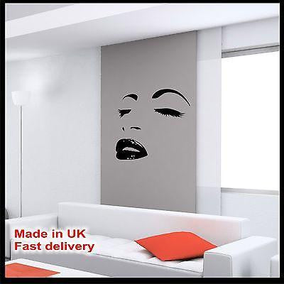 WOMAN FACE Fashion Lips Eyes Abstract Vinyl Wall Art Sticker - Wall Art Decal