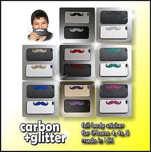 GLITTER SHINE MOUSTACHE with CARBON Back Skin for iPhone 4 4S 5 5S