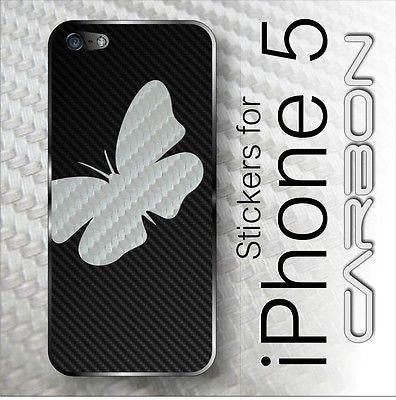 Butterfly CARBON Fiber Full Battery Back Skin for iPhone 5