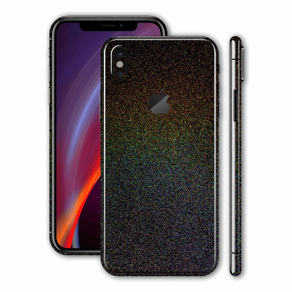 iPhone XS Glossy GALAXY Black Milky Way Rainbow Sparkling Metallic Skin Wrap Sticker Decal Cover Protector by EasySkinz