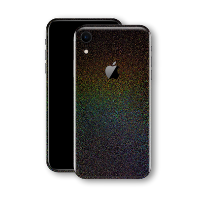 iPhone XR Glossy GALAXY Black Milky Way Rainbow Sparkling Metallic Skin Wrap Sticker Decal Cover Protector by EasySkinz