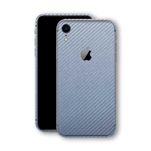 iPhone XR Arctic Blue 3D Textured CARBON Fibre Fiber Skin, Wrap, Decal, Protector, Cover by EasySkinz | EasySkinz.com
