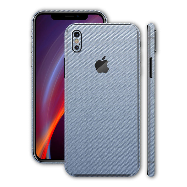 iPhone X Arctic Blue 3D Textured CARBON Fibre Fiber Skin, Wrap, Decal, Protector, Cover by EasySkinz | EasySkinz.com