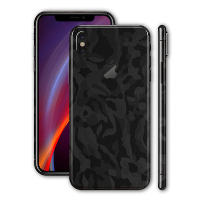 iPhone X Luxuria Black 3D Textured Camo Camouflage Skin Wrap Decal Protector | EasySkinz