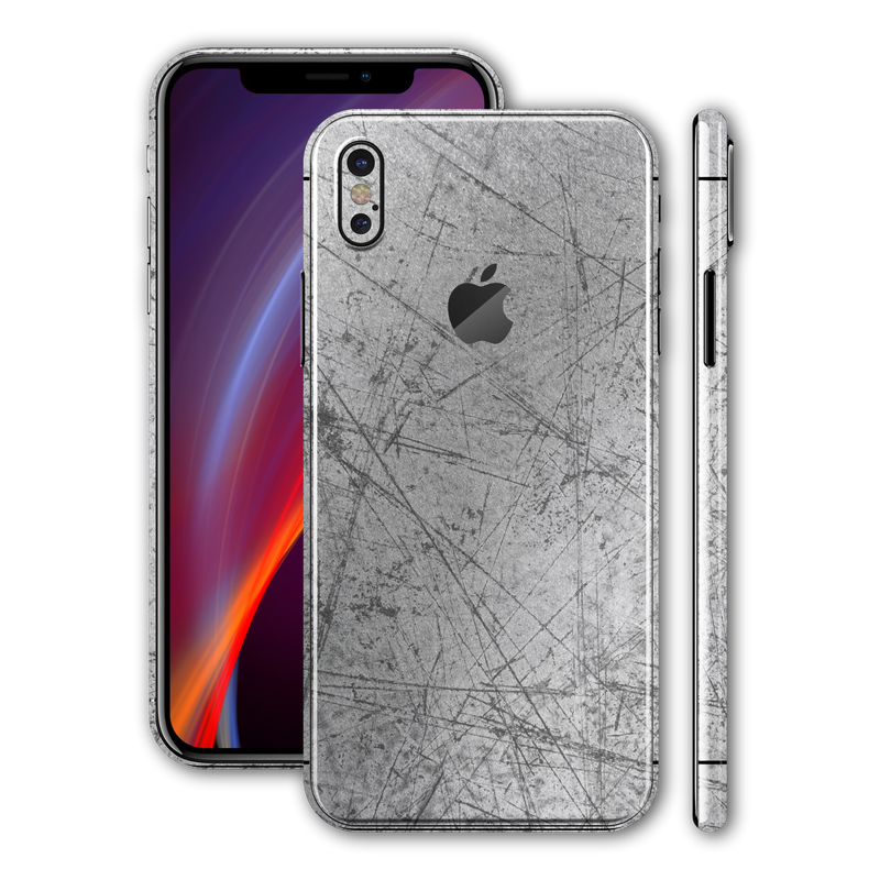 iPhone X Print Custom Signature Aluminium Scratched Plate Skin Wrap Decal by EasySkinz