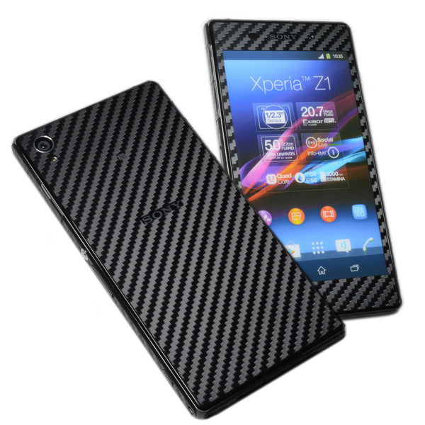 sony xperia z1 black carbon fibre skin cover