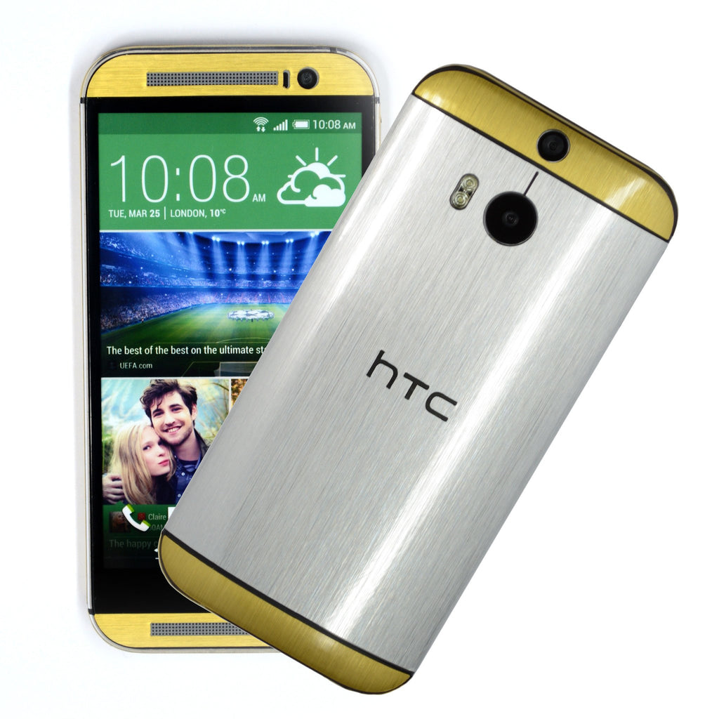 HTC One M8 Silver Gold Skin