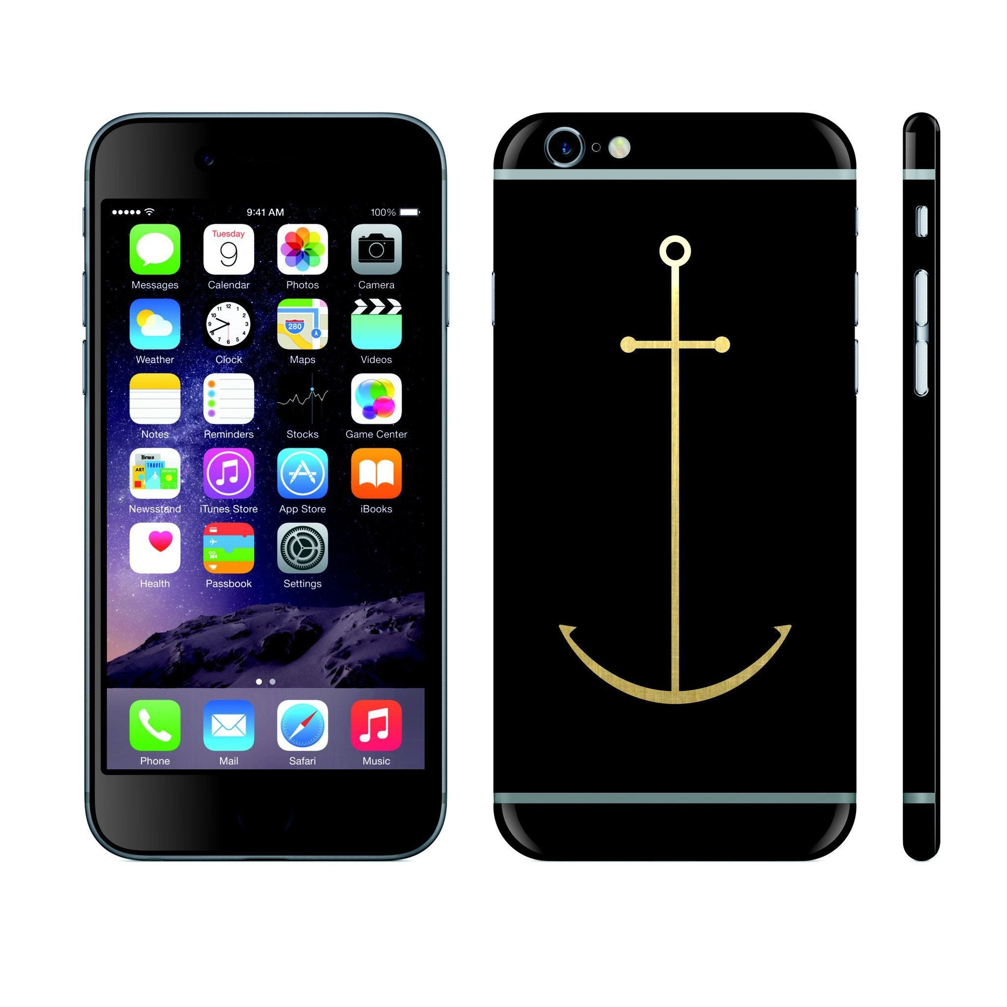 iPhone 6 PLUS Black Matt and Brushed Gold Anchor Custom Designs Skin Cover Decal Wrap Sticker Protector by EasySkinz
