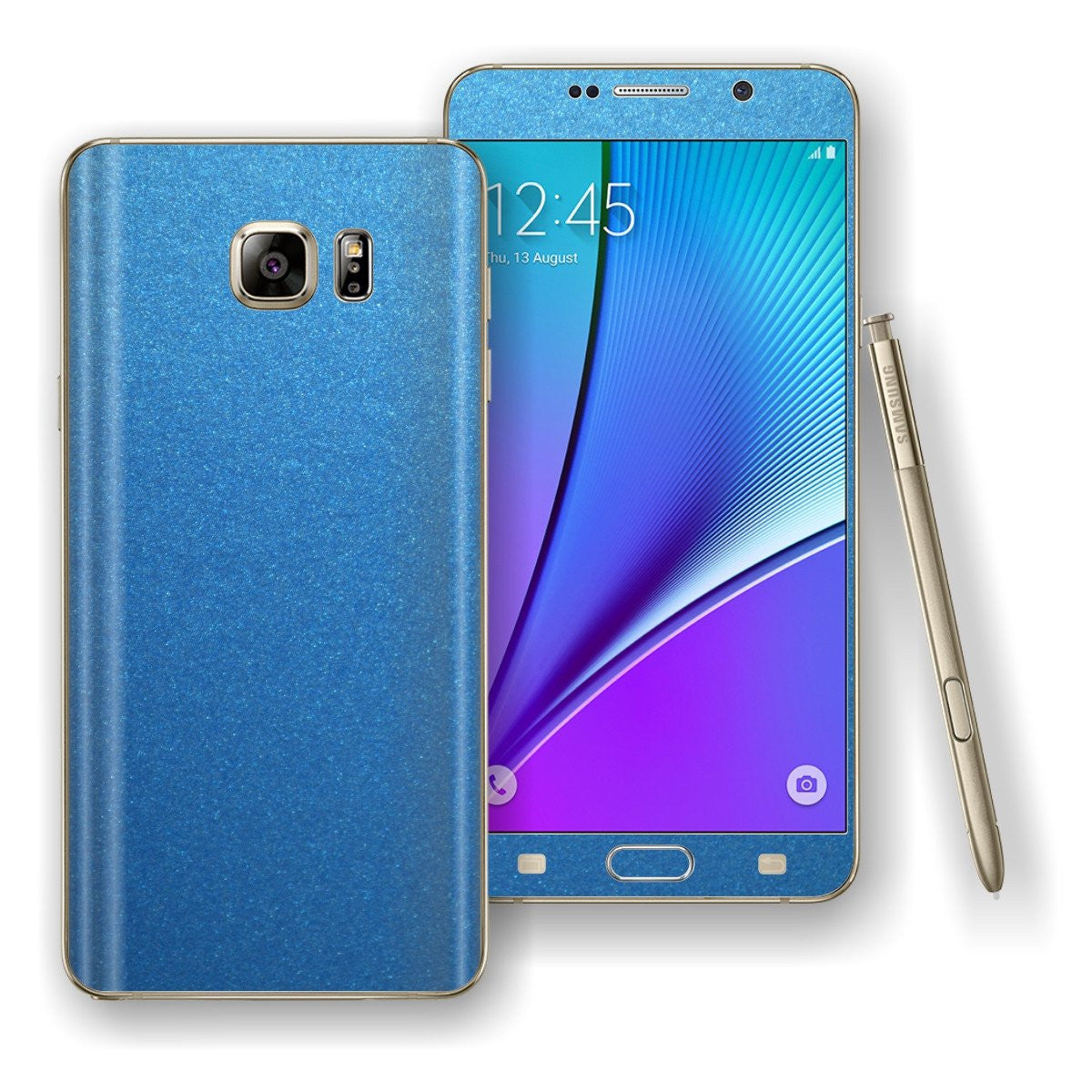 Samsung Galaxy NOTE 5 Azure Blue Matt Metallic Skin Wrap Decal Cover Protector by EasySkinz