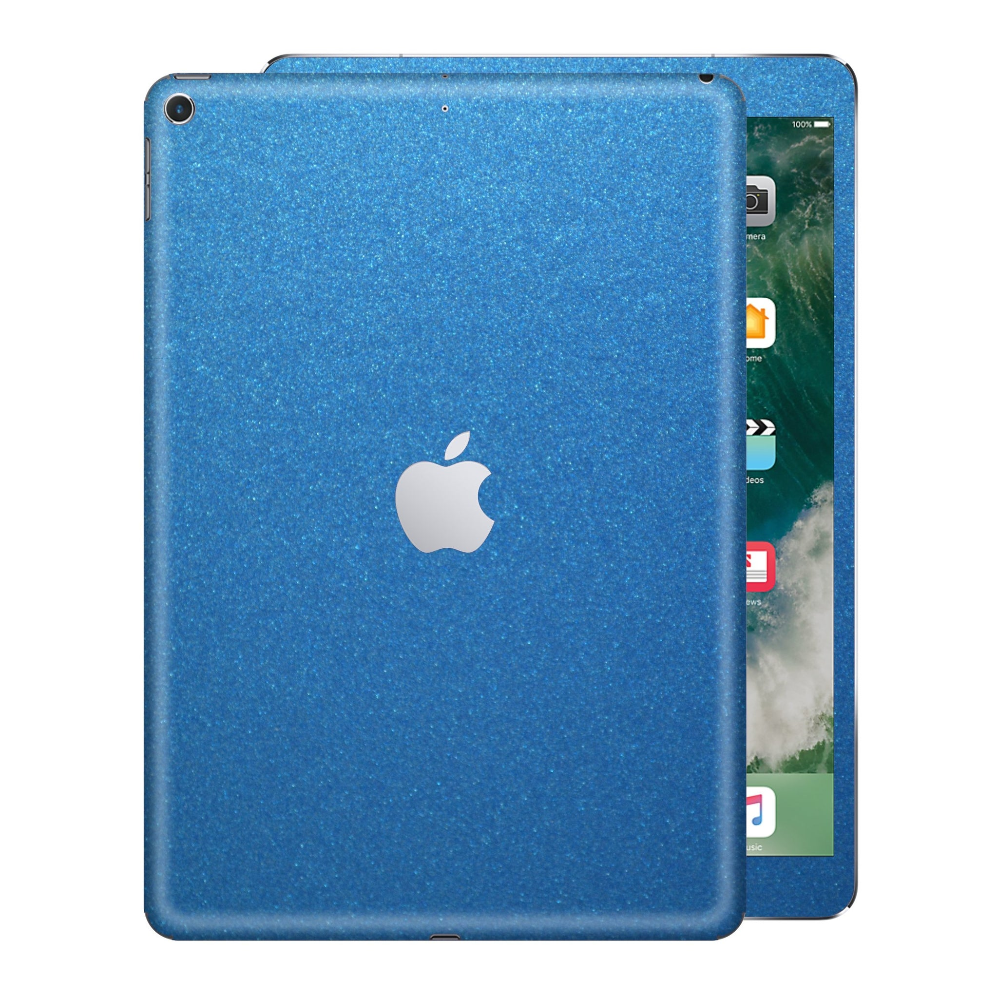 iPad 9.7 inch 2017 Glossy Azure Blue Metallic Skin Wrap Sticker Decal Cover Protector by EasySkinz