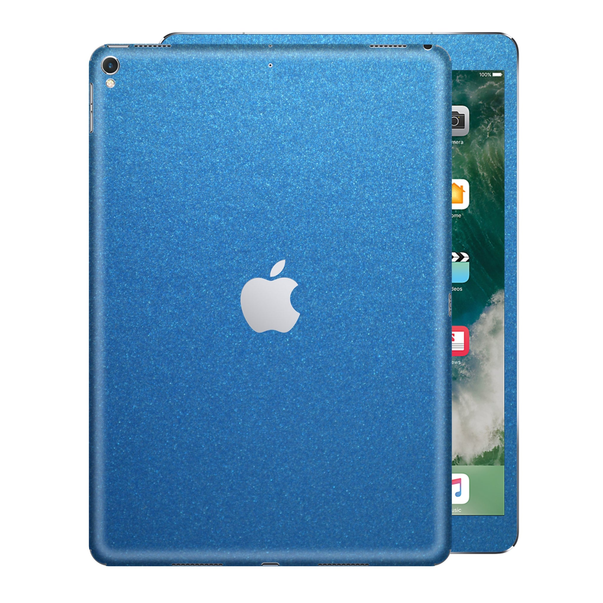 iPad PRO 10.5 inch 2017 Matt Matte Azure Blue Metallic Skin Wrap Sticker Decal Cover Protector by EasySkinz