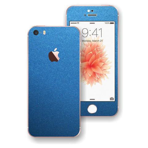 iPhone SE Matt Azure Blue Metallic Skin Wrap Decal Sticker Cover Protector by EasySkinz