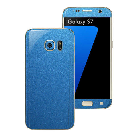 Samsung Galaxy S7 Glossy Azure Blue Metallic Skin Wrap Decal Sticker Cover Protector by EasySkinz