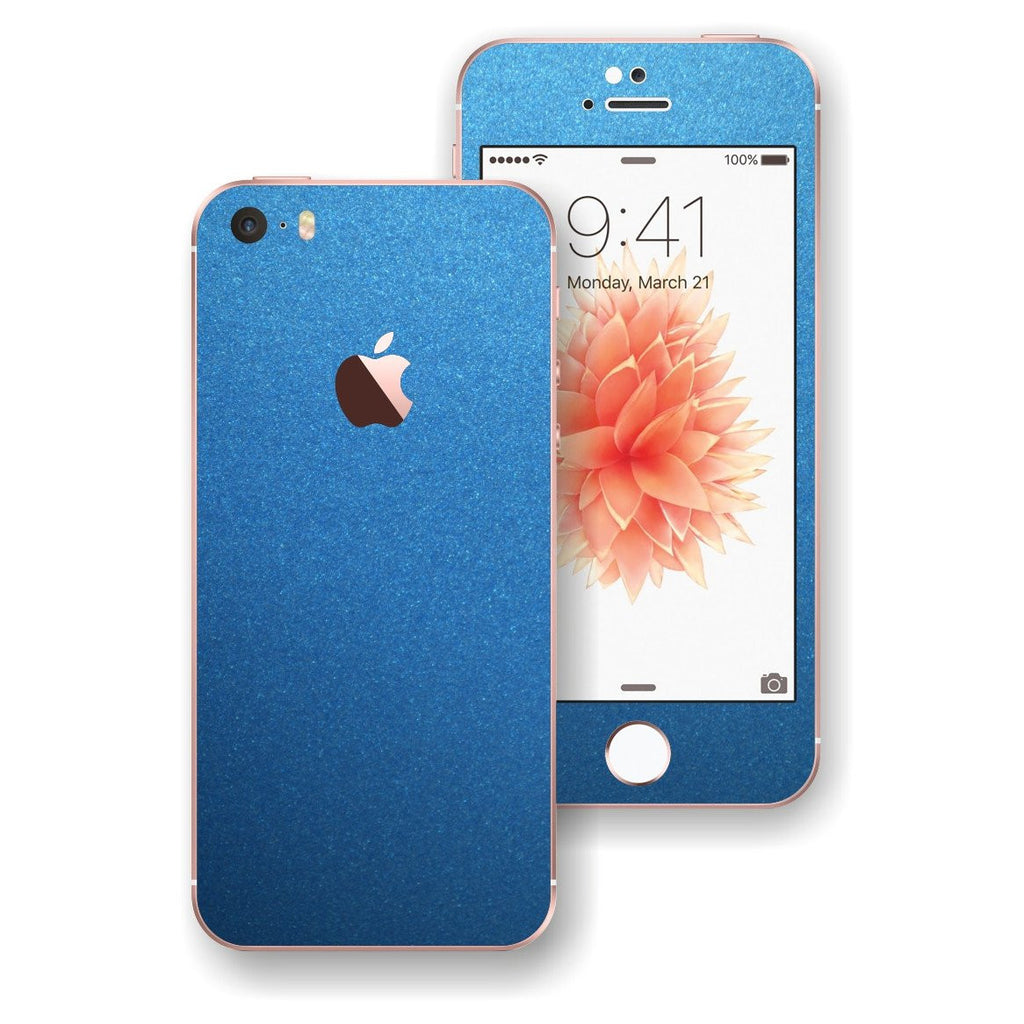 iPhone SE Glossy AZURE BLUE Metallic Skin Wrap Decal Sticker Cover Protector by EasySkinz