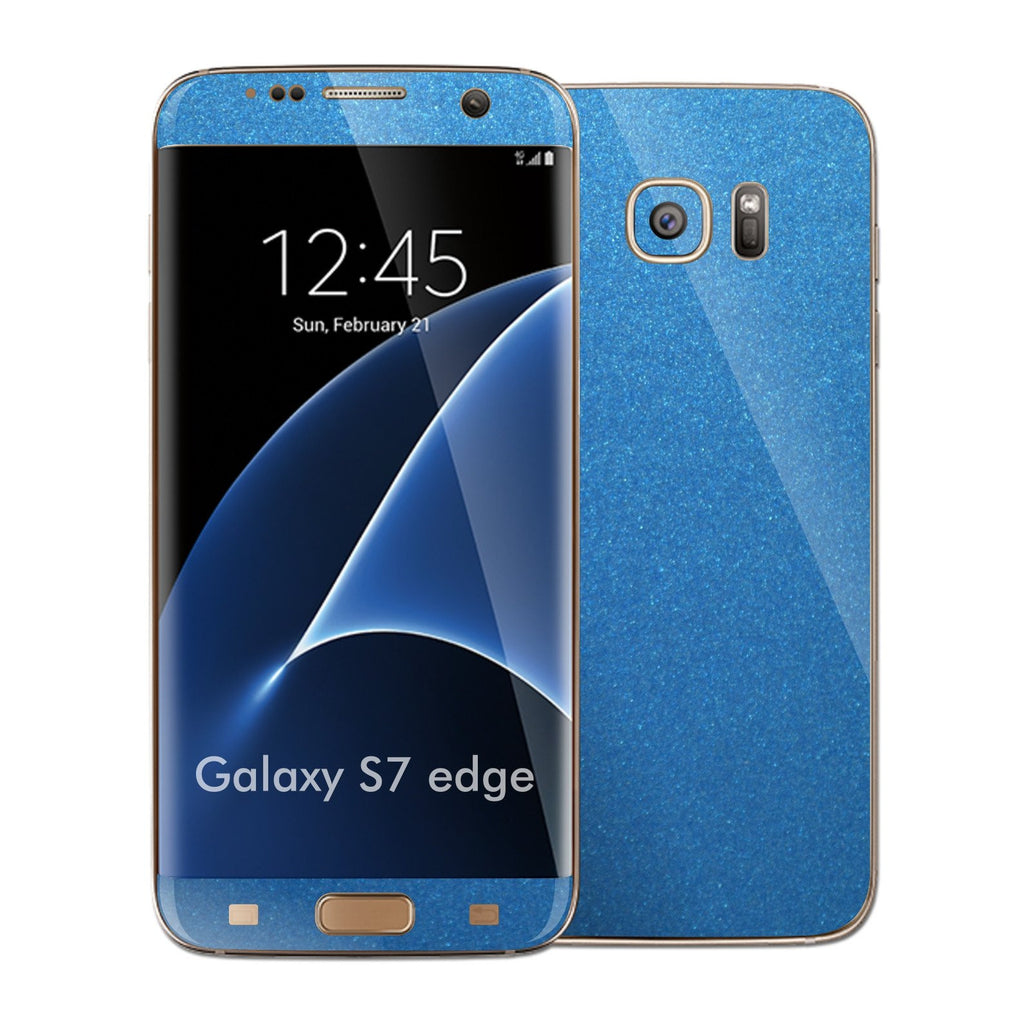Samsung Galaxy S7 EDGE Glossy Azure Blue Metallic Skin Wrap Decal Sticker Cover Protector by EasySkinz