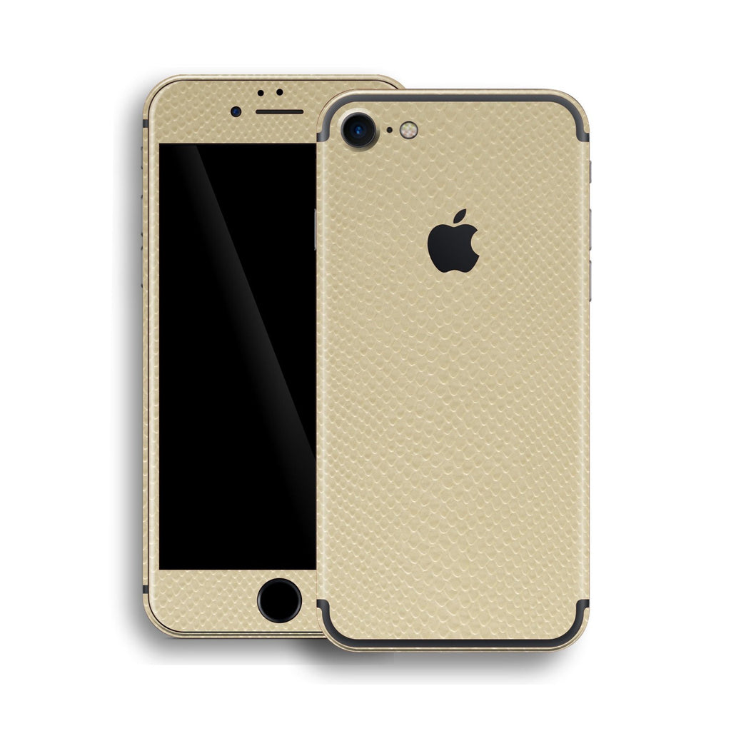 iPhone 7 Beige Leather Mamba Snake Skin, Wrap, Decal, Protector, Cover by EasySkinz | EasySkinz.com