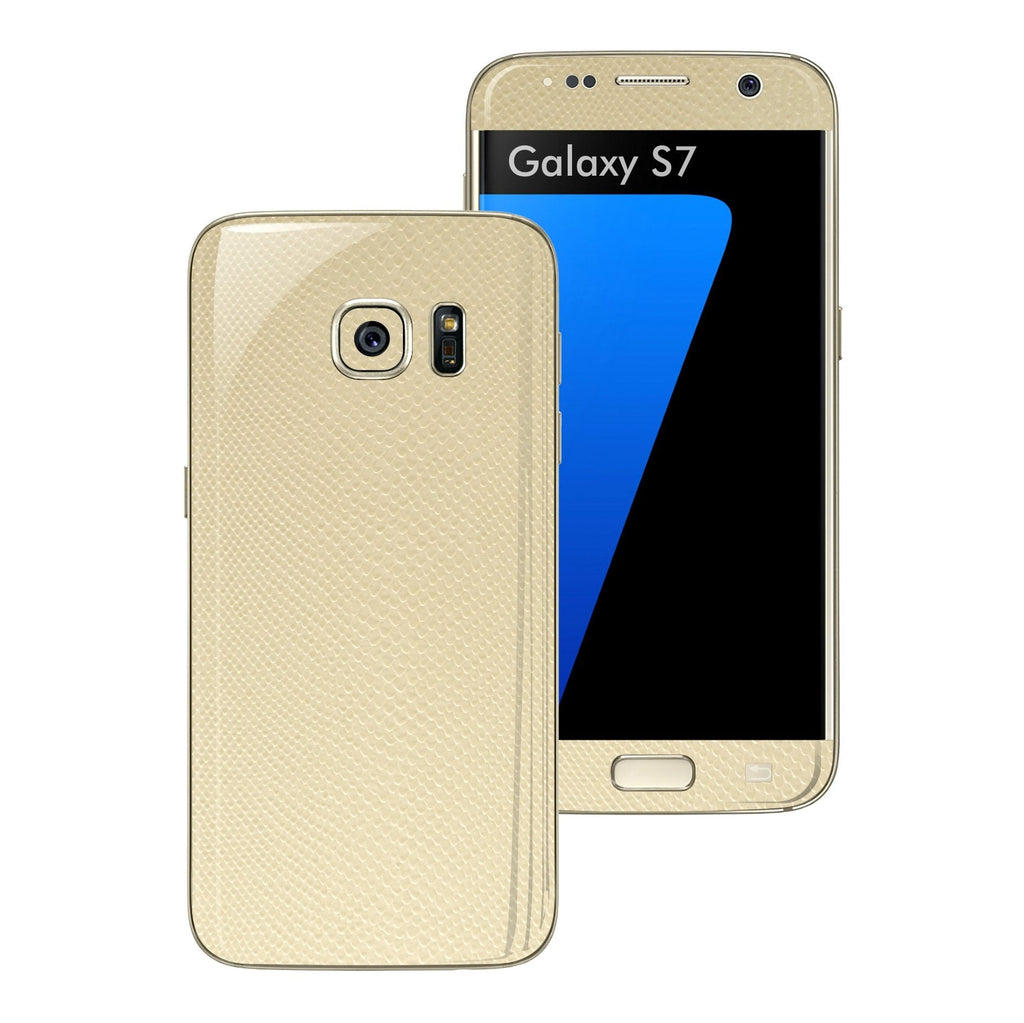 Samsung Galaxy S7 Beige Mamba Snake Leather Skin Wrap Decal Cover Protector Sticker by EasySkinz