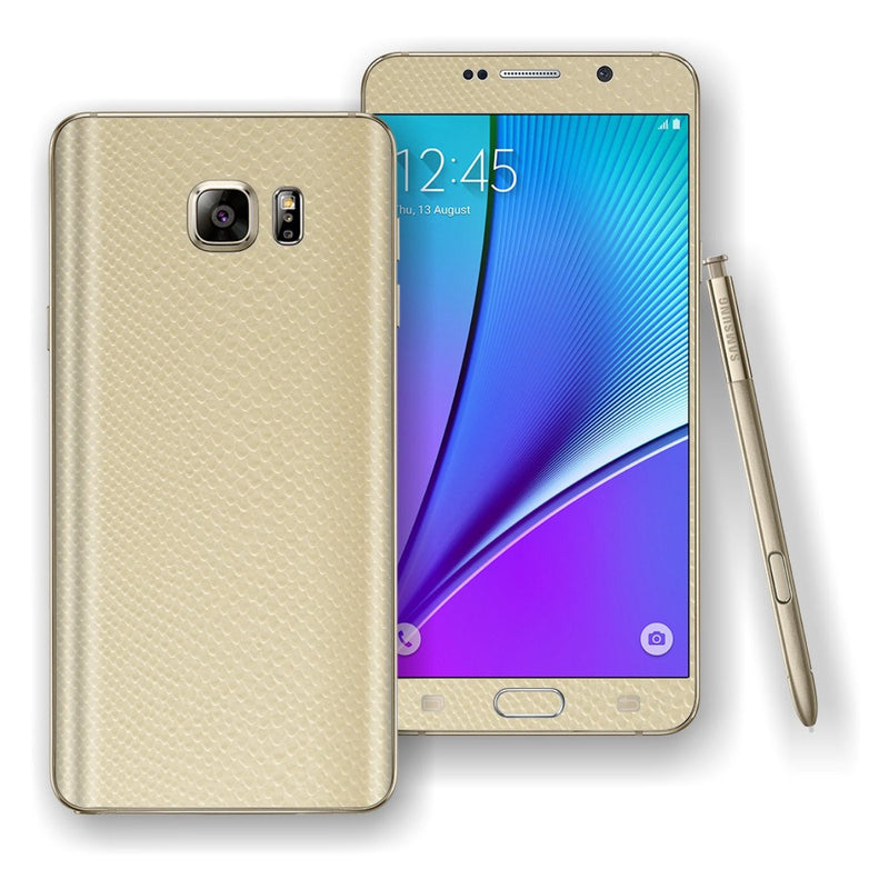 Samsung Galaxy NOTE 5  3D Textured Beige MAMBA SNAKE Leather Skin Wrap Decal Cover Protector by EasySkinz